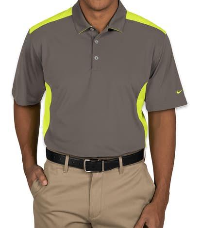 Nike Golf Dri-FIT Mesh Colorblock Performance Polo - Dark Grey / Volt