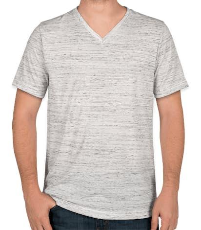 Bella + Canvas Melange Blend V-Neck T-shirt - White Marble