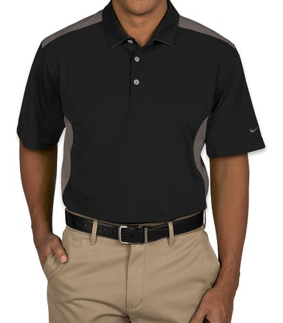 Nike Golf Dri-FIT Mesh Colorblock Performance Polo - Black / Dark Grey