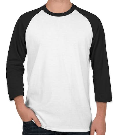 Port & Company 50/50 Baseball Raglan - White / Jet Black