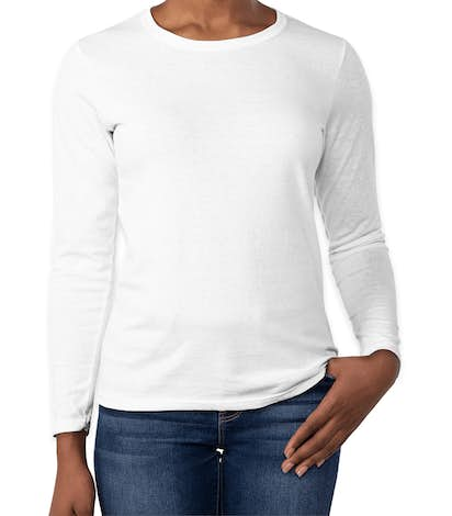 Gildan Women's 100% Cotton Long Sleeve T-shirt - White