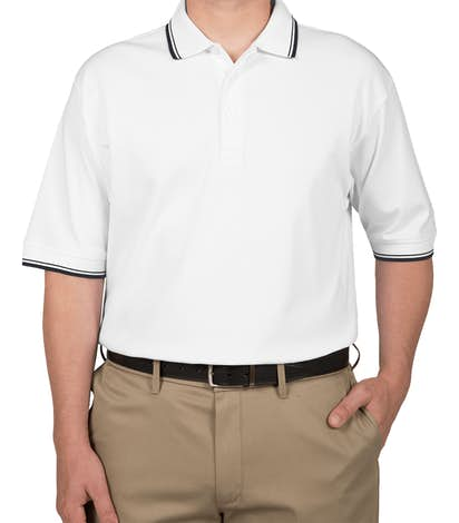 Devon & Jones Tipped Pima Interlock Polo - White / Navy