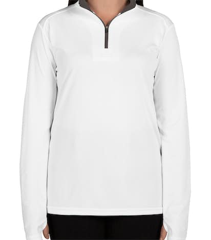 Badger Women's Contrast Quarter Zip Performance Shirt - White / Graphite