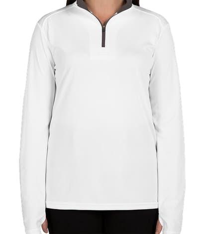 Badger Women's Contrast Quarter Zip Performance Shirt - White / Graphite