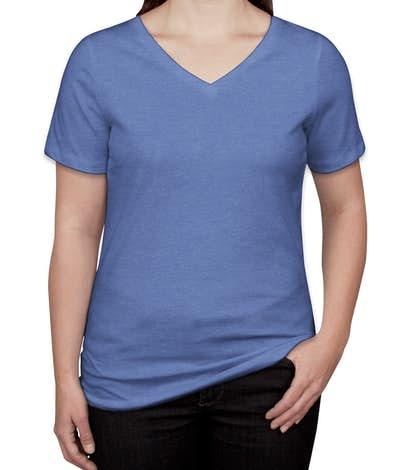 Bella + Canvas Women's Tri-Blend V-Neck T-shirt - Blue Triblend