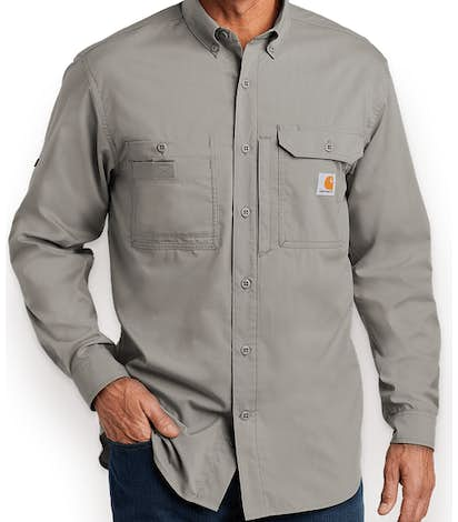 Carhartt Force Ridgefield Button Down Shirt - Asphalt