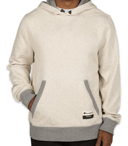 Champion Authentic Sueded Pullover Hoodie  - Oatmeal Heather / Oxford Grey