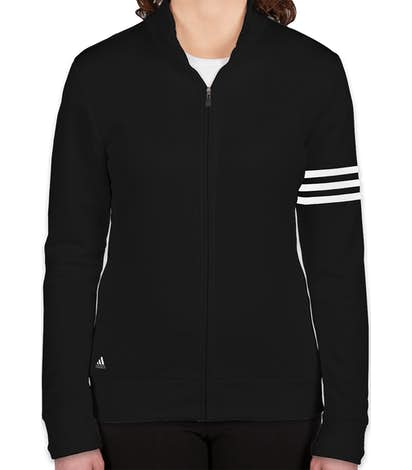 Adidas Women s ClimaLite Full Zip Performance Sweatshirt - Black   White 99efeb0759