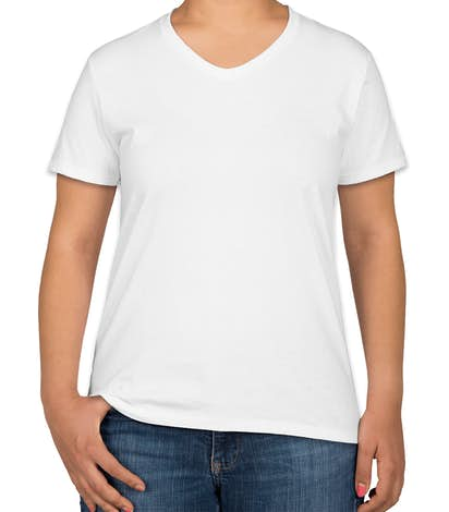 Hanes Women's 100% Cotton V-Neck T-shirt - White
