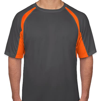 15dab4be9ab19 ... Badger B-Dry Contrast Performance Shirt - Color  Graphite   Safety  Orange ...