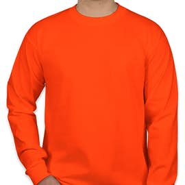 Bayside 100% Cotton USA Long Sleeve T-shirt - Color: Bright Orange