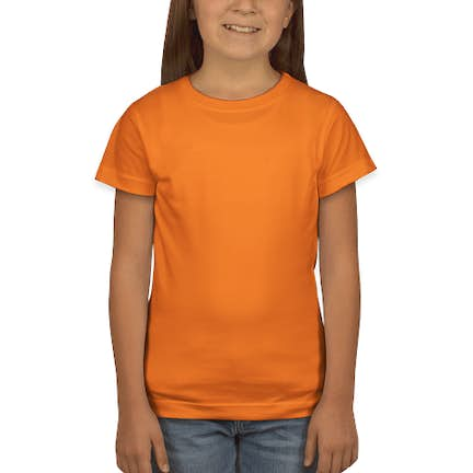 5f87e716 ... LAT Youth Girls Longer Length Jersey T-shirt - Color: Mandarin Orange