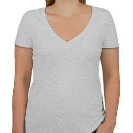 Next Level Juniors Tri-Blend Deep V-Neck T-shirt - Color: Heather White