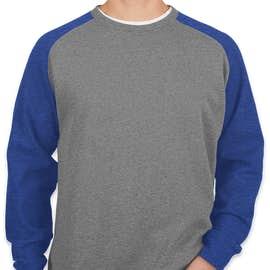 Independent Trading Heather Raglan Crewneck Sweatshirt - Color: Gunmetal Heather / Royal Heather