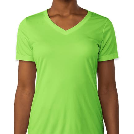 caa9dbc96982bc ... Sport-Tek Women s Competitor V-Neck Performance Shirt - Color  Lime  Shock ...