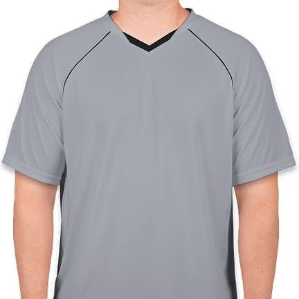 c0e3fa5324f ... Augusta Striker Performance Soccer Jersey - Color  Silver   Black ...
