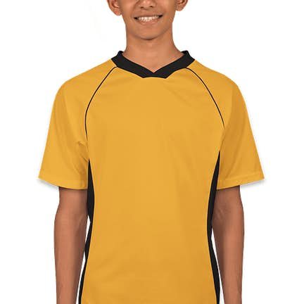 6493ffe187e ... Augusta Youth Colorblock Performance Soccer Jersey - Color  Gold    Black ...