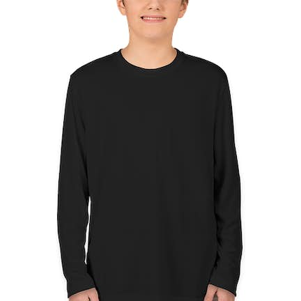 70b1ebb2 ... Sport-Tek Youth Competitor Long Sleeve Performance Shirt - Color: Black  ...