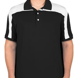 Team 365 Colorblock Performance Polo - Color: Black / White