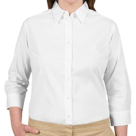 Port Authority Women's 3/4 Sleeve Easy Care Twill Shirt - Color: White