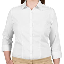 Van Heusen Women's 3/4 Sleeve Baby Twill Dress Shirt - Color: White