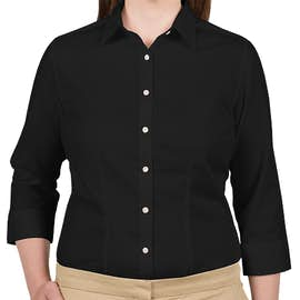 Van Heusen Women's 3/4 Sleeve Baby Twill Dress Shirt - Color: Black