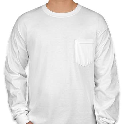 c365d8bbdc0 ... Canada - Gildan Ultra Cotton Long Sleeve Pocket T-shirt - Color  White  ...