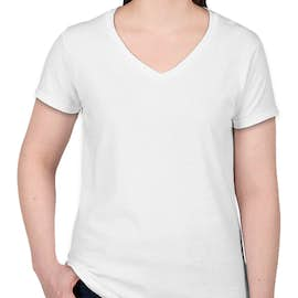 Gildan Women's 100% Cotton V-Neck T-shirt - Color: White