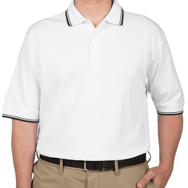 Devon & Jones Tipped Pima Interlock Polo - Color: White / Navy