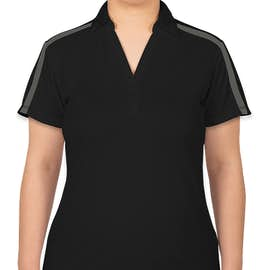 Port Authority Women's Silk Touch Colorblock Performance Polo - Color: Black / Steel Grey
