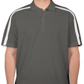 Port Authority Silk Touch Colorblock Performance Polo - Color: Steel Grey / White