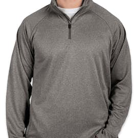 Devon & Jones Heather Quarter Zip Performance Pullover - Color: Dark Grey Heather