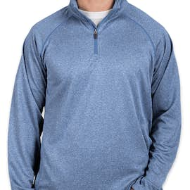 Devon & Jones Heather Quarter Zip Performance Pullover - Color: French Blue Heather