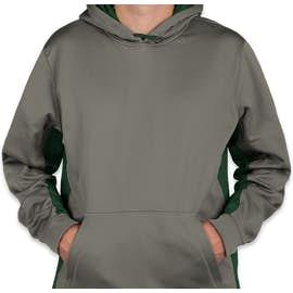 Sport-Tek Colorblock Performance Pullover Hoodie - Color: Dark Smoke Grey / Forest Green