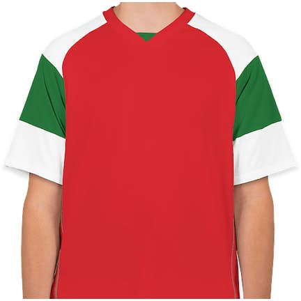 ... High Five Mundo Performance Soccer Jersey - Color  Scarlet   Kelly    White ... ed6fe5f56