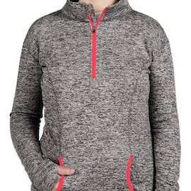 J. America Women's Cosmic Quarter Zip Performance Pullover - Color: Charcoal Fleck / Fire Coral
