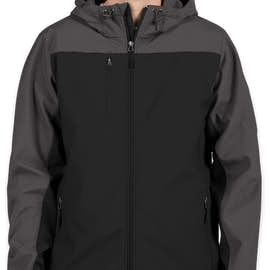 Port Authority Contrast Hooded Soft Shell Jacket - Color: Black / Battleship Grey