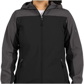 Port Authority Women's Contrast Hooded Soft Shell Jacket - Color: Black / Battleship Grey