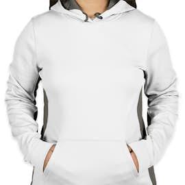 Sport-Tek Women's Colorblock Performance Pullover Hoodie - Color: White / Dark Smoke Grey