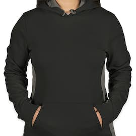 Sport-Tek Women's Colorblock Performance Pullover Hoodie - Color: Black / Dark Smoke Grey