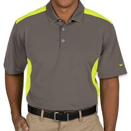 Nike Golf Dri-FIT Mesh Colorblock Performance Polo - Color: Dark Grey / Volt