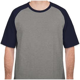 Sport-Tek Short Sleeve Baseball Raglan - Color: Heather Grey / Navy