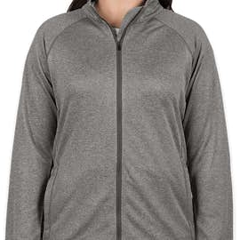 Devon & Jones Women's Heather Performance Full Zip - Color: Dark Grey Heather
