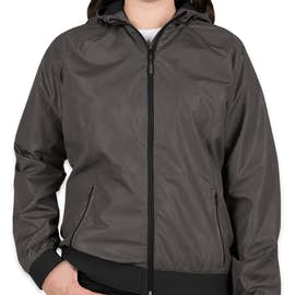 Sport-Tek Women's Embossed Full Zip Hooded Jacket - Color: Graphite / Black
