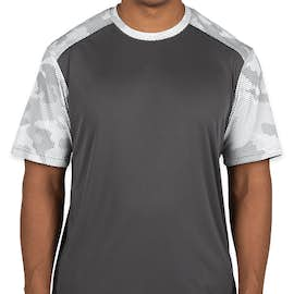 Sport-Tek CamoHex Colorblock Performance Shirt - Color: Iron Grey / White