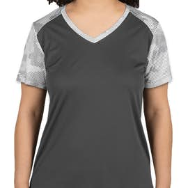 Sport-Tek Women's CamoHex Colorblock Performance Shirt - Color: Iron Grey / White