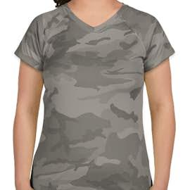 Champion Women's Camo V-Neck Performance Shirt - Color: Stone Grey Camo