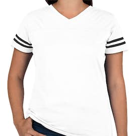 LAT Women's Varsity V-Neck T-shirt - Color: White