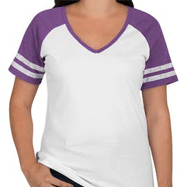 District Women's Game Time V-Neck T-shirt - Color: White / Heathered Purple