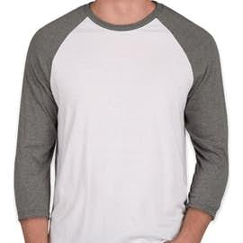 District Tri-Blend Baseball Raglan - Color: Grey Frost / White